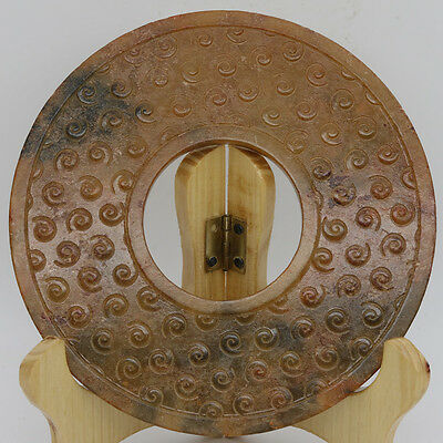Chinese Oriental culture hand carved jade circular Bi Disk with grains C874