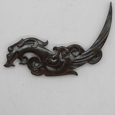 Chinese culture carved jade connected dragon phoenix pointed pendant (xi) C820