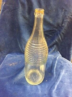 Vintage DIAMOND GINGER ALE Clear Bottle heavy glass DIAMOND DESIGN - item no 202