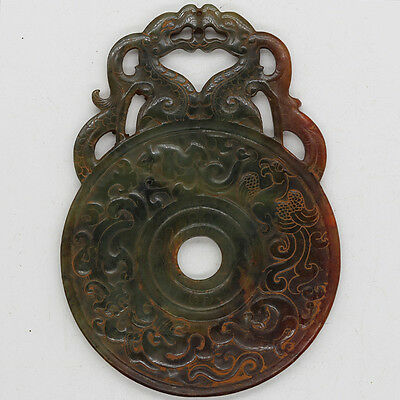 Chinese hand carved jade brown openwork Disc Bi with Chi dragon phoenix C826