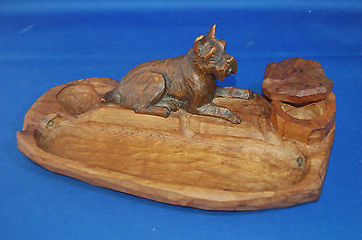 A lovely Victorian Continental carved wooden dog inkwell, desk or pin, pen tray