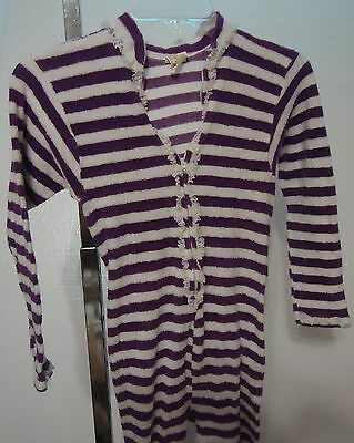 UNWORN Vtg 70s Purple White STRIPE Terrycloth FOOTED 1Pc Pajamas Sears M 9/11 US