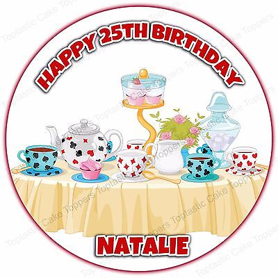 Personalised Vintage Afternoon Tea Mad Hatters Party Edible Icing Cake Topper