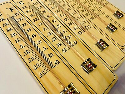 1x 3x 5x 10x Thermometer 20cm HOLZ Holzthermometer Außenthermometer Innenthermo