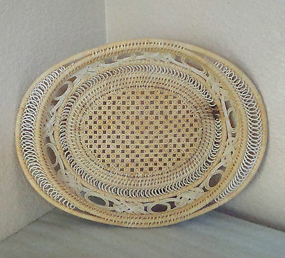 """Vintage Hand Woven Coiled Southwest Oval Basket Tray 12""""large"""