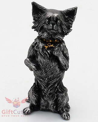 Tin Pewter Figurine of long haired Chihuahua Dog IronWork
