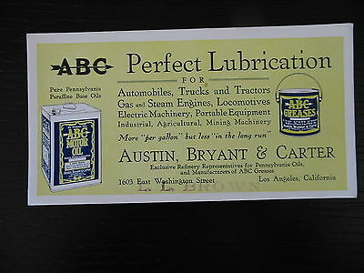1918 Abc Austin Bryant Carter Motor Oil Greases Los Angeles Ink Blotter Ll Brown