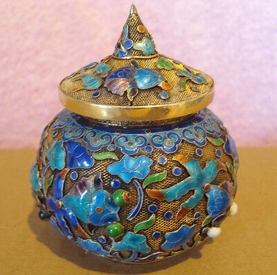 Antique Chinese Enamel Silver Small Jar Box