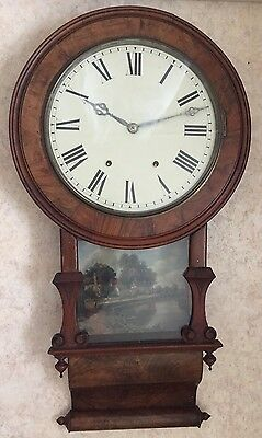 "American Victorian Drop Dial Inlaid Walnut Striking Movement Wall Clock 32""L GWO"