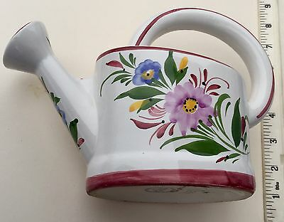 Ceramic Watering Can w/ Flower Design - Hand Painted In Portugal