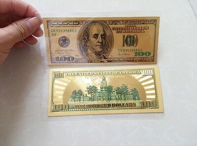 24K Pure Plated & Colorized .999 GOLD US $100 Dollar Bill BANK NOTE