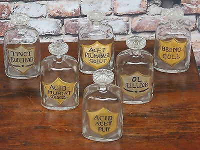 """Antique Set Of 6 European Hand Painted Apothecary Chemist Bottles/Jars 7"""" Tall"""