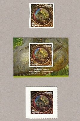 ca. DIMETRODON BOREALIS, DINOS OF CANADA 2016 DIE CUT MNH bkt stamp+CARD+TATTOO