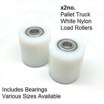 X2 (Pair of) WHITE Nylon hand pallet truck load rollers/wheels inc. bearings