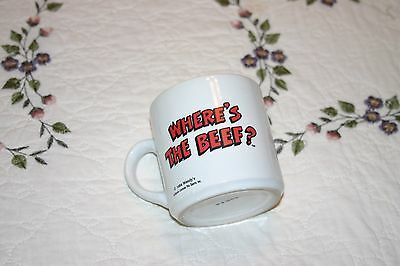 """Vintage 1984 WENDY'S Advertising """"WHERE'S THE BEEF"""" Coffee Mug Excellent Cond"""