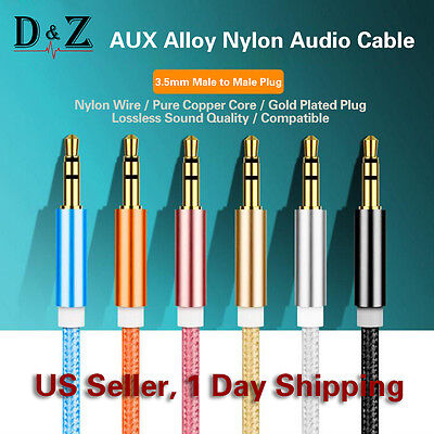 3ft 3.5mm Aux Stereo Audio Cable Cord Black Wire Jack Headphones iPod Car MP3 PC