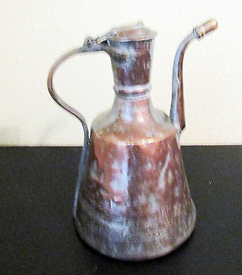 Vintage Turkish copper & tin pitcher with hinged lid and brass handle