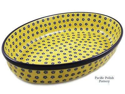 Polish Pottery Stoneware CA Large Oval Baker (297-242) Yellow Daisy