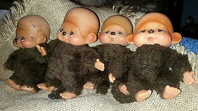 "Sekiguchi Monchhichi Lot of 4 smaller babies 5"" size Vintage all are BALD"