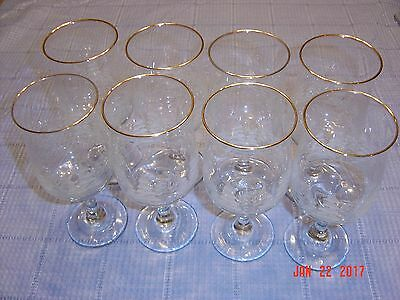 Set of 8 Arbys Winter Scene Xmas  Holiday Wine water Goblets With Gold Rims