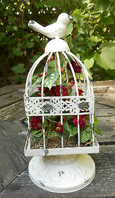 "9.5"" Red Rose Floral in Distressed metal Birdcage Handmade Table Arrangement"