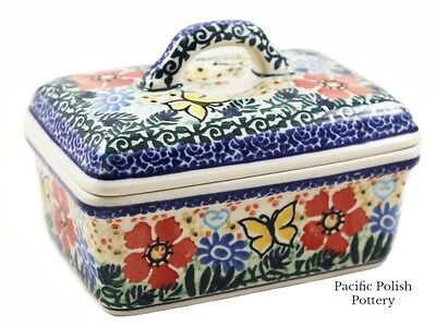 Polish Pottery Unikat Kitchen Sugar or Butter Box (10-u2237) Butterfly Poland