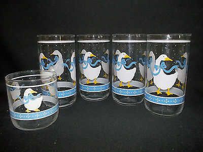 Libbey Geese Country  Drinking Glasses Set Of 4 & 1 Juice Glass