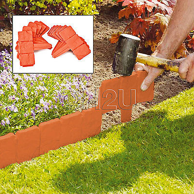 10 Pack Terracotta Cobbled Stone Effect Garden Lawn Edging Plant Border