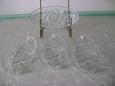 4  Early American Prescut Star Of David Glass Oval Bowl Dish Lot Eapc