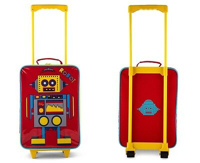 New Kids Robot Rolling Luggage Travel School Over Night Stay Camping Wheelie Bag