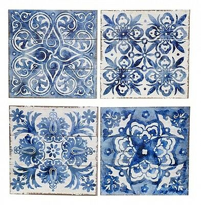BLUE MOROCCAN-STYLE WALL ART on WOOD - Set of 4