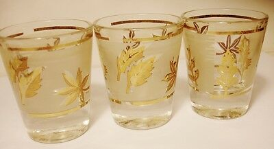 3 Libbey-Frosted Panel- Retro-Gold Leaf- Shot/Cordial Glass/ Glasses- G.Reeves