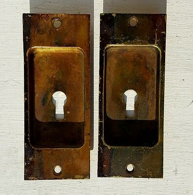Antique 1890's Pair Pocket Door Keyhole Insert Pulls
