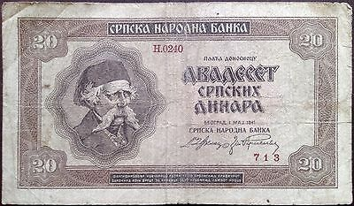 Serbia banknote - 20 dinara - year 1941 - World War II - Nazi German occupation
