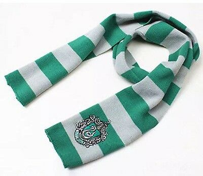 """Harry Potter Slytherin Scarf Green & Silver Costume Knit Wool 63"""" US Seller"""