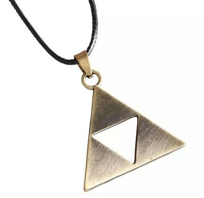 Legend Of Zelda Triforce Necklace Pendant Charm Bronze 4cm US Seller