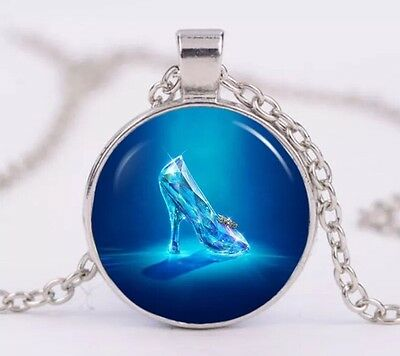 "Disney Cinderella Glass Slipper Cabochon Necklace Silver 18"" US Seller"
