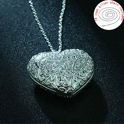 925 Silver Hollow Heart Marble Vintage Chain Pendant Necklace Women Jewelry XL02