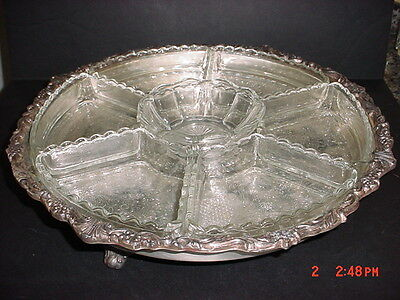 Sheridan Silver Plated Footed Lazy Susan (Does Not Turn) Serving Tray