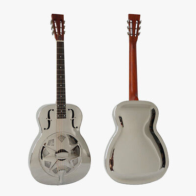 O Style Gloss Chrome Plated Aiersi brand Resonator Guitar With Free Guitar Case