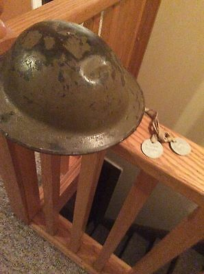 WWI US Dough boy Helmet with Dog Tags Original