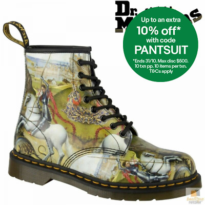 Dr. Martens 1460 St George & Dragon Backhand 8 Eye Lace Up Leather Boots Shoes