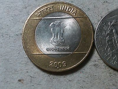 India 10 rupees 2009 bi-metallic coin