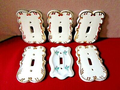 """( 6 ) Vintage """" FINE BONE CHINA ~ LIGHT SWITCH PLATE COVERS """":  Great for ReHab!"""