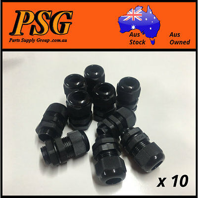M20 20mm Nylon Cable Glands, Black, Metric Thread, IP68 Waterproof x 10