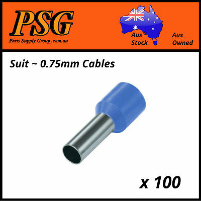 Cable Ferrules 0.75mm2 x 100 pack, Bootlace, Pin Crimps, Wire Sleeves