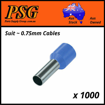 Cable Ferrules 0.75mm2 x 1000 pack, Bootlace, Pin Crimps, Wire Sleeves