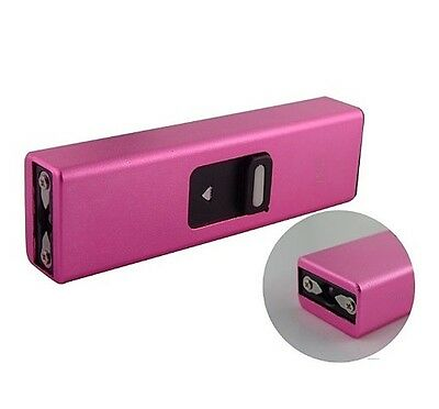 Pink 30 Billion Volt Mini Keychain Stun Gun Flashlight w/ USB Charger