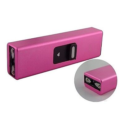 Pink 500 MV Mini Keychain Stun Gun Flashlight w/ USB Charger