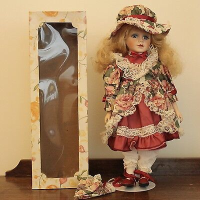 Vintage Porcelain Doll - Edwardian Dress - Copper Art - With Stand - 1980's GVC